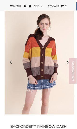 Neonmello rainbow dash stripes cardigan in chocolate