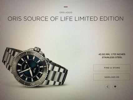 ORIS AQUIS SOURCE OF LIFE LIMITED EDITION (LOOK NEW IN BOX)