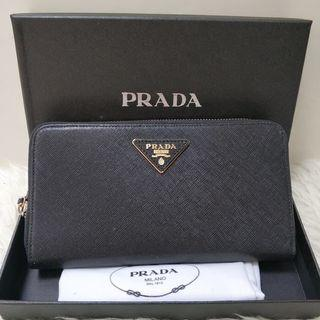 Premium dompet Prada long zipper wallet