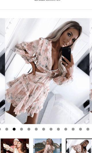 Brand New With Tags - Catwalk Connection Flora Floral Mini Ruffle Dress - Size Small fits 6-8 - RRP $239
