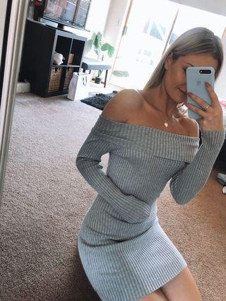 Grey Ribbed Long Sleeve Off Shoulder Dress - Size small