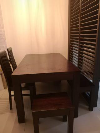 Mahogany/Walnut Wooden Dining Set