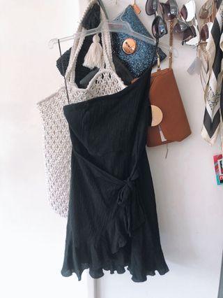 One Shoulder Black Mini Dress - Size 8 fits 6-8