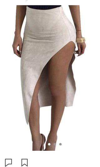 BEIGE Suede Side Split High Waisted Skirt - Worn Once - Size Small