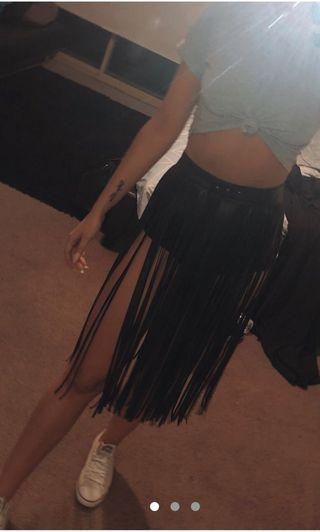 Brand New Never Worn Leather Style Festival Tassel Skirt Belt - adjustable, fits size 6-10