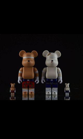 全新 MEDICOM TOY BE@RBRICK Muay Thai Bundle Set 400%+100% 泰國限定