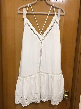 全新BB Dakota白色通花吊帶連身裙 white dress