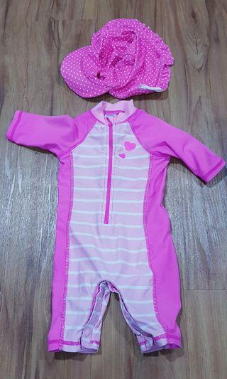 Girls' Mothercare Swimsuit & Cute Matching Sun-protective Hat.