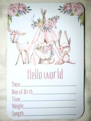 Baby Girl Milestones Cards