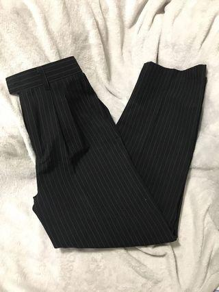 Black stripe flare dress pants