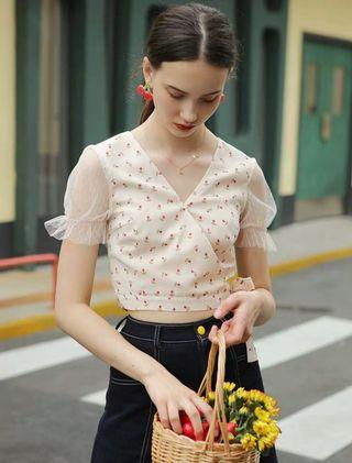 MintCheese 法式少女 復古拼接蕾絲碎花小襯衫