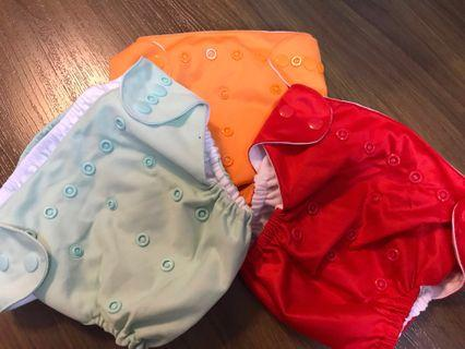 Washable adjustable baby diapers w/ microfiber cloth