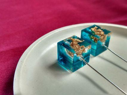 Handmade Blue Wave with Gold Leaf Cube Earring
