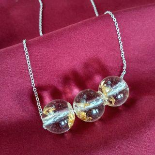 Water Drop with Gold Leaf Handmade Resin Necklace