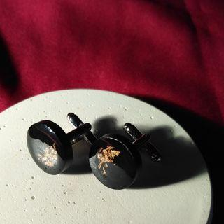 Handmade Black Cufflinks with Gold Leaf