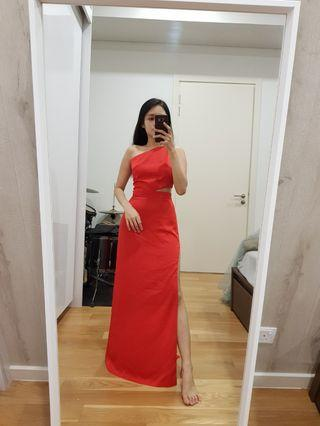 (Sale 4 for RM260) chilli red body fitting toga gown