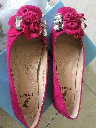 Flat shoes pink colour brand Polo