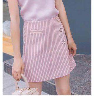 粉紅直間A字高腰短裙 pink skirt