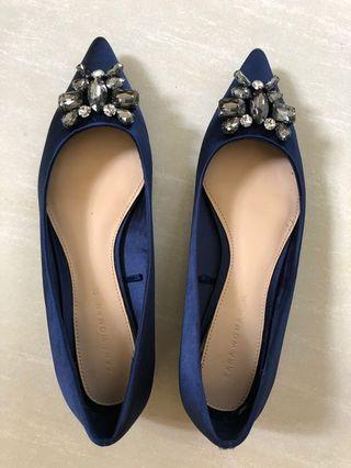 Zara Blue Pointed Jeweled Shoes
