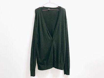 🚚 修身款Uniqlo軍綠針織外套