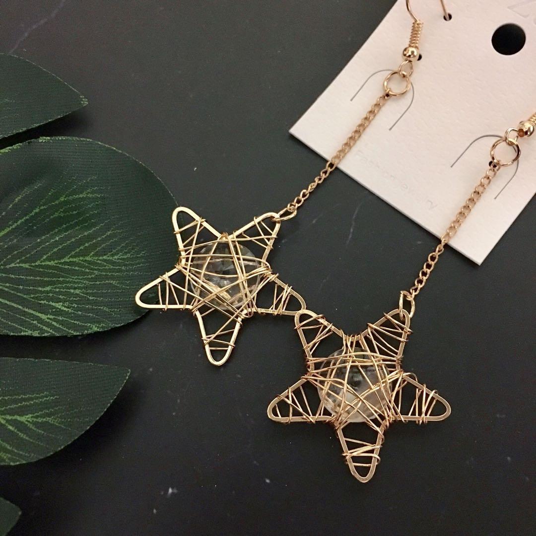 星星垂吊耳環
