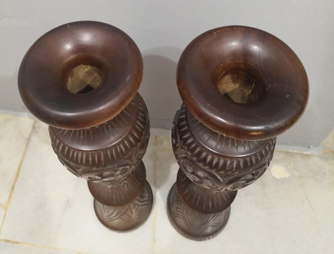 antique wooden ornate vase 2