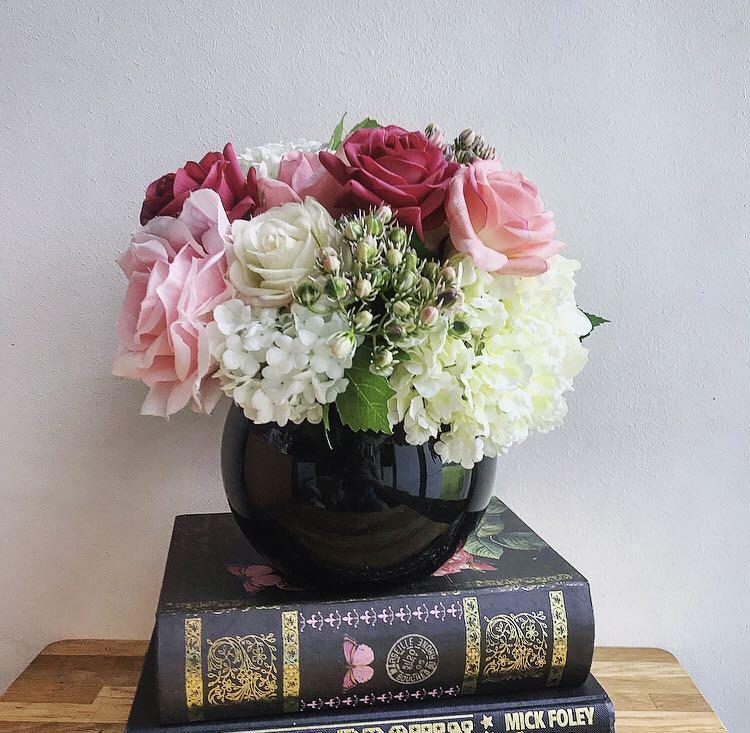 Artificial Flower Arrangement In Round Black Vase Gardening Flowers Bouquets On Carousell