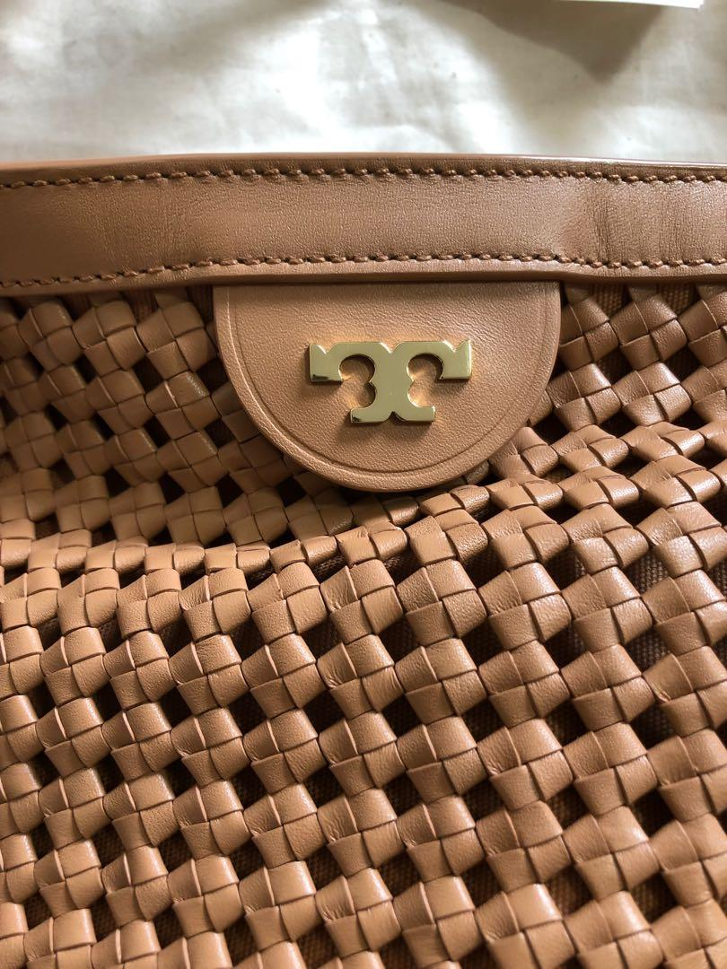Authentic Tory Burch  ERICA WOVEN PERFORATED LEATHER SHOULDER TOTE
