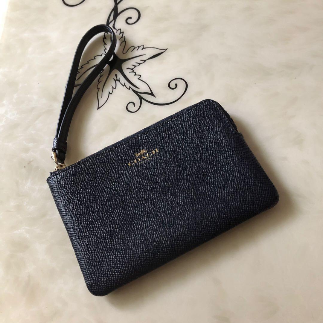 Coach  深藍質感素面款 經典款 防刮真皮皮革 單層手拿包 (於美國購入)
