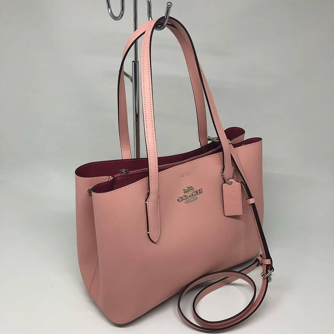 Coach Avenue Tote sz 35/43x28x12 Light Pink Oxblood (with long strap)