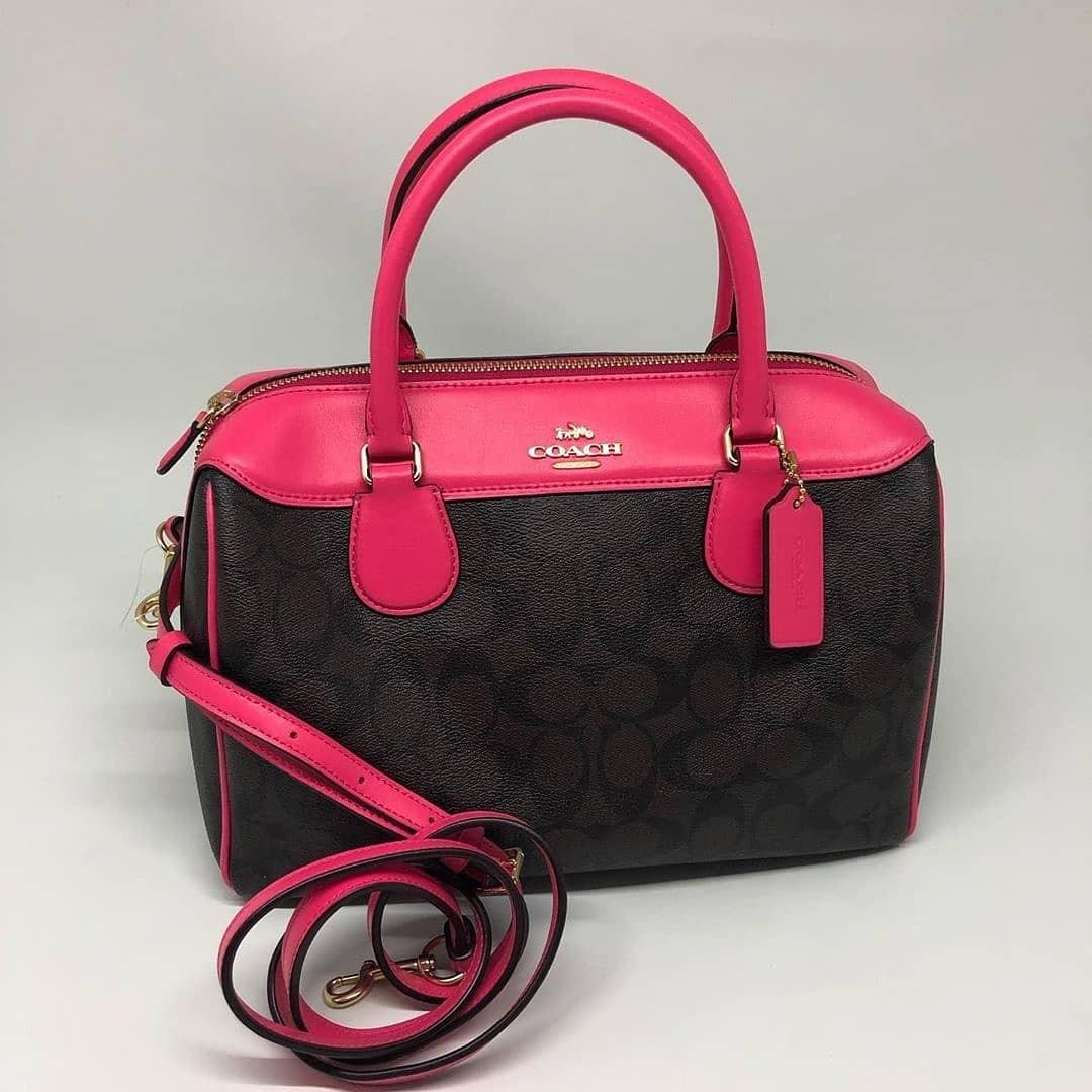 Coach Large Bennet size 29x23x12,5cm Signature Brown Black Neon Pink