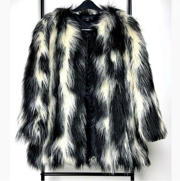 Cue sz M black white heavy vegan fur long coat jacket winter chic party formal