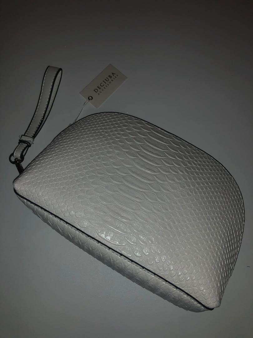 Decjuba White Croc Leather Clutch