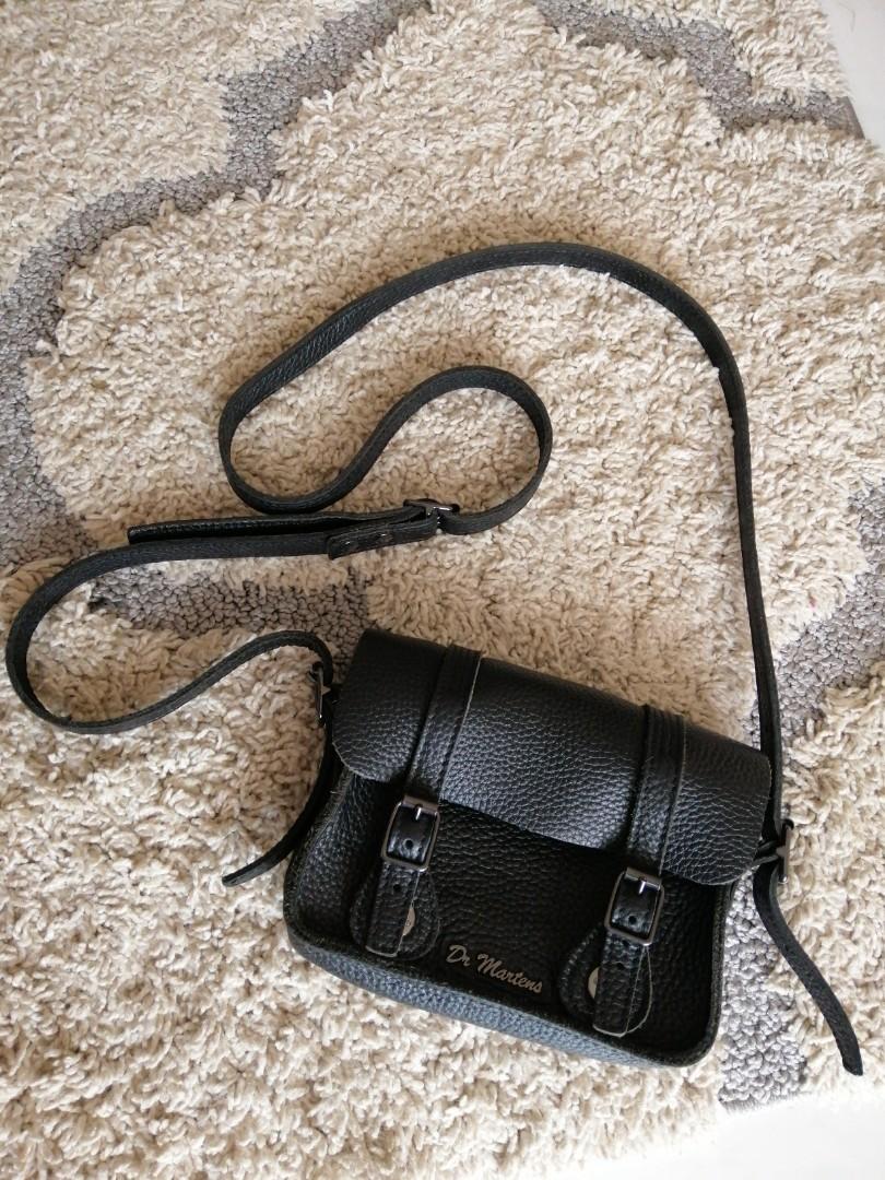 Dr Martens Black Leather Sling Bag