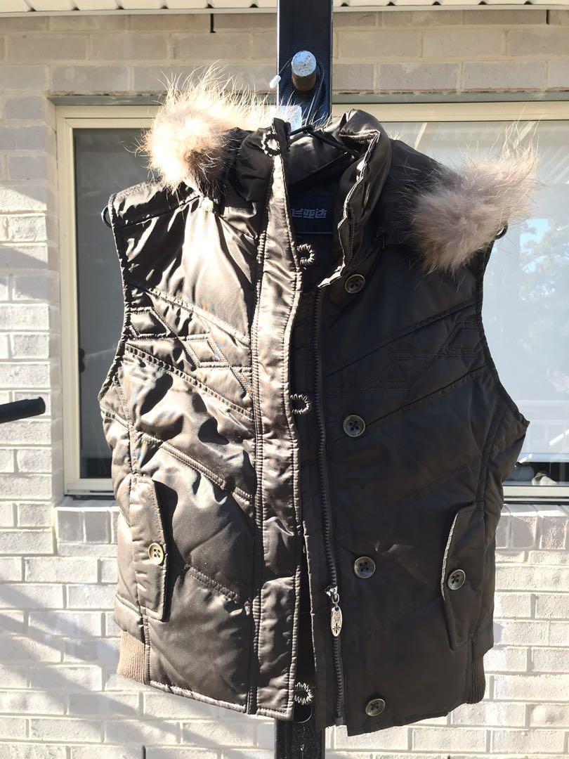 Faux Fur Detachable Collar Hood Quilted Puffer Jacket Vest Parka