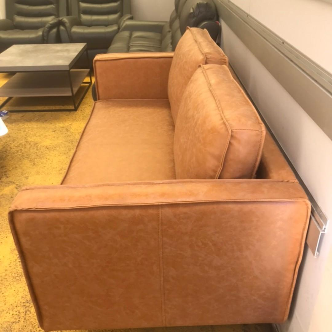 Free Delivery ! PU Leather 2 Seater Sofa Grey/Brown from $699