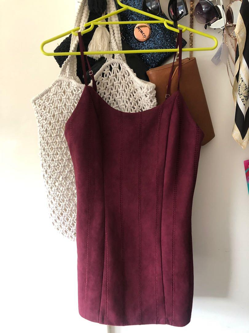 Glamazon Suede Maroon Mini Dress - Size 8 - Worn once , perfect condition