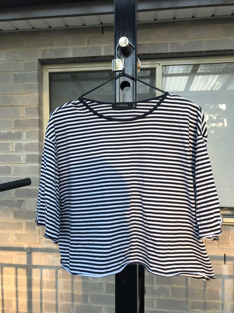 Glassons Boxy Navy and White Striped Cropped Tee Shirt