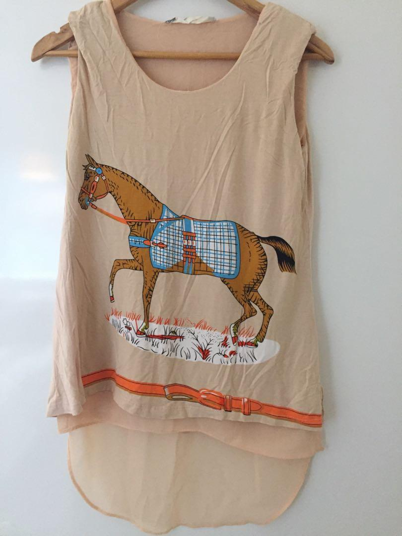 MARNI silk and cotton top with horse print and split back design