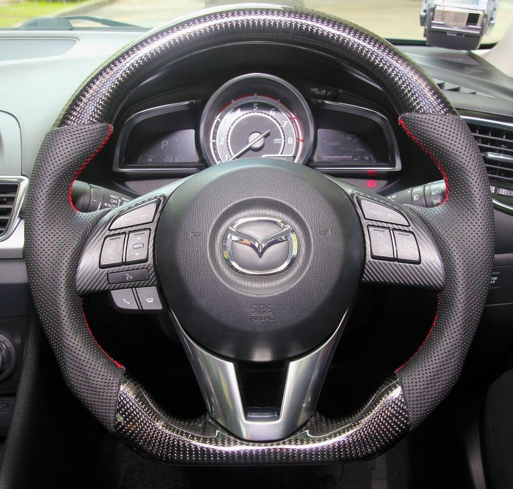 NEW Bicast Leather Steering Wheel Cover Mazda 2 3 /& 6 all Models