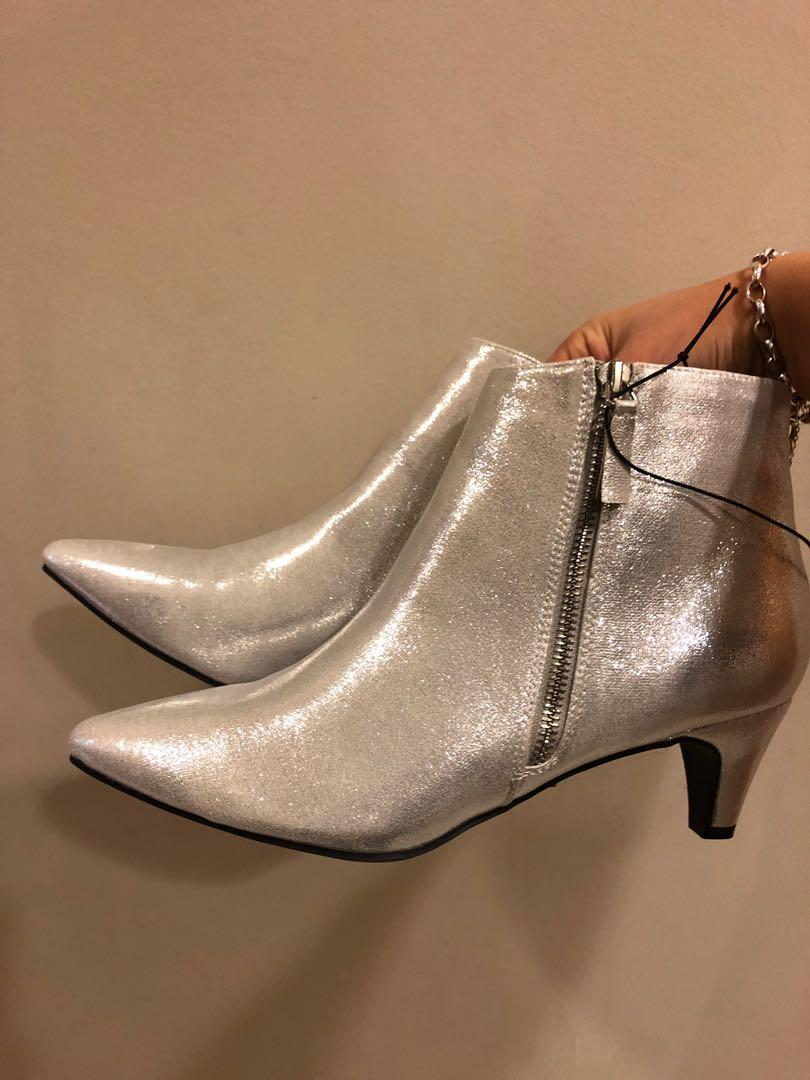new silver forever21 ankle boots in size 8 uk