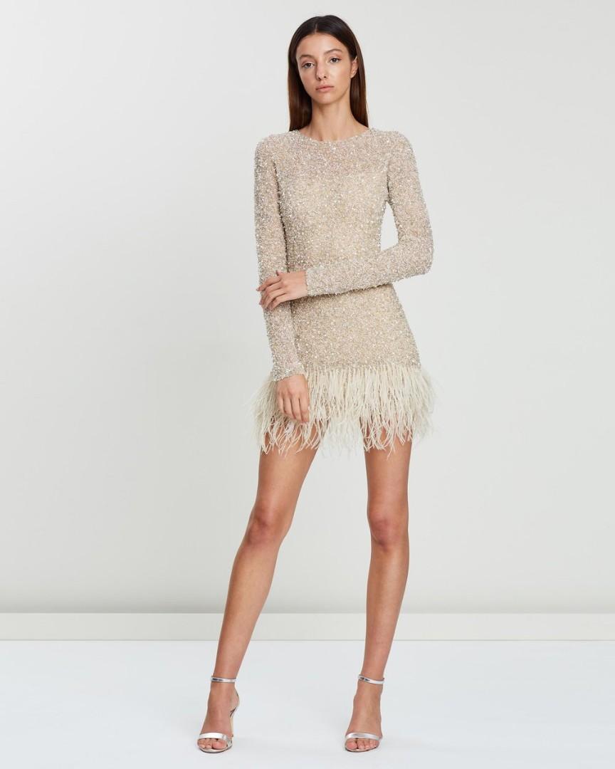 Rachel Gilbert Nisha Long Sleeved Sequin Mini Dress - Floss