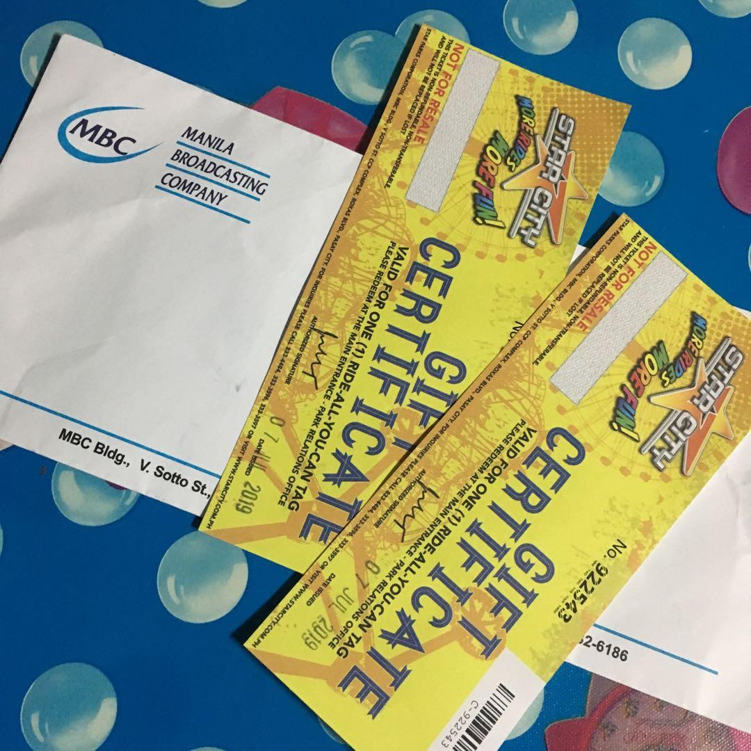 Star City Ride-All-You-Can (2 Gift Certificates)