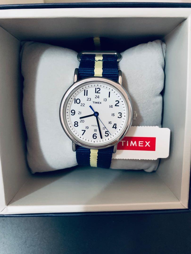 Timex T2P142 Weekender-Stripe Blue Nylon Slip Through Strap With Gray Stripe Watch 【Discount Price!!!】