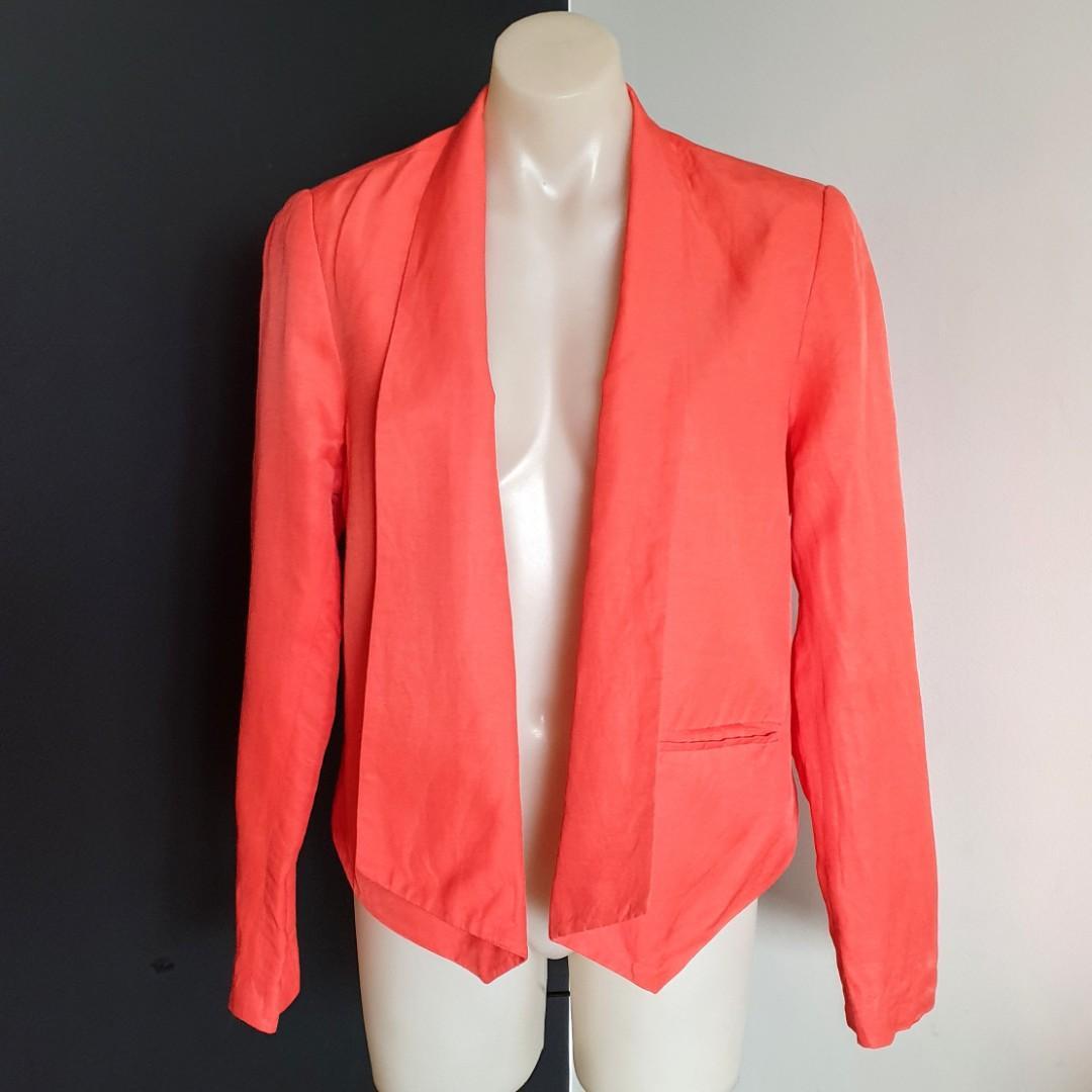 Women's size 12 'SUSSAN' Stunning orange linen blend long sleeve blazer - AS NEW