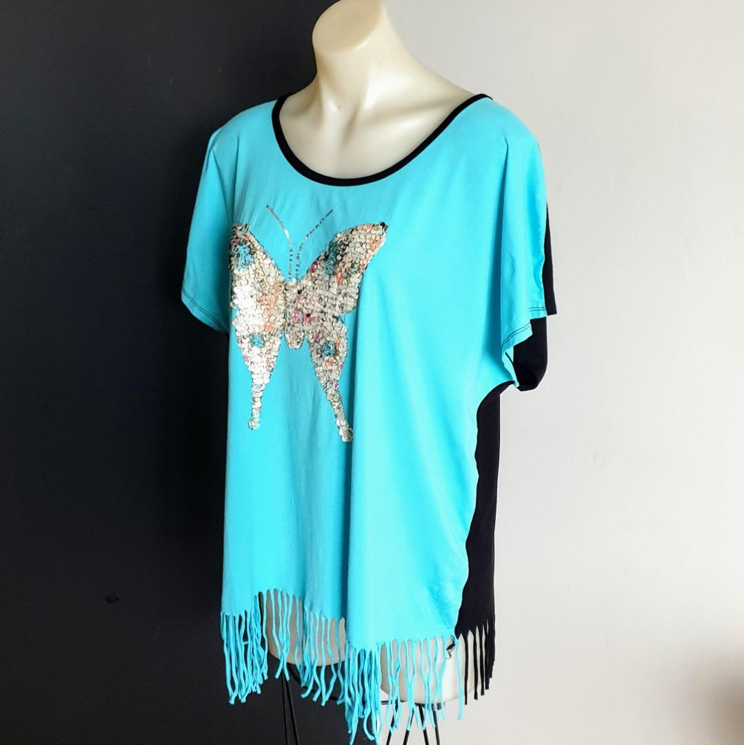 Women's size L 'AFRICAN SOUL' Gorgeous turquoise and black tassel trim top with butterfly sequins