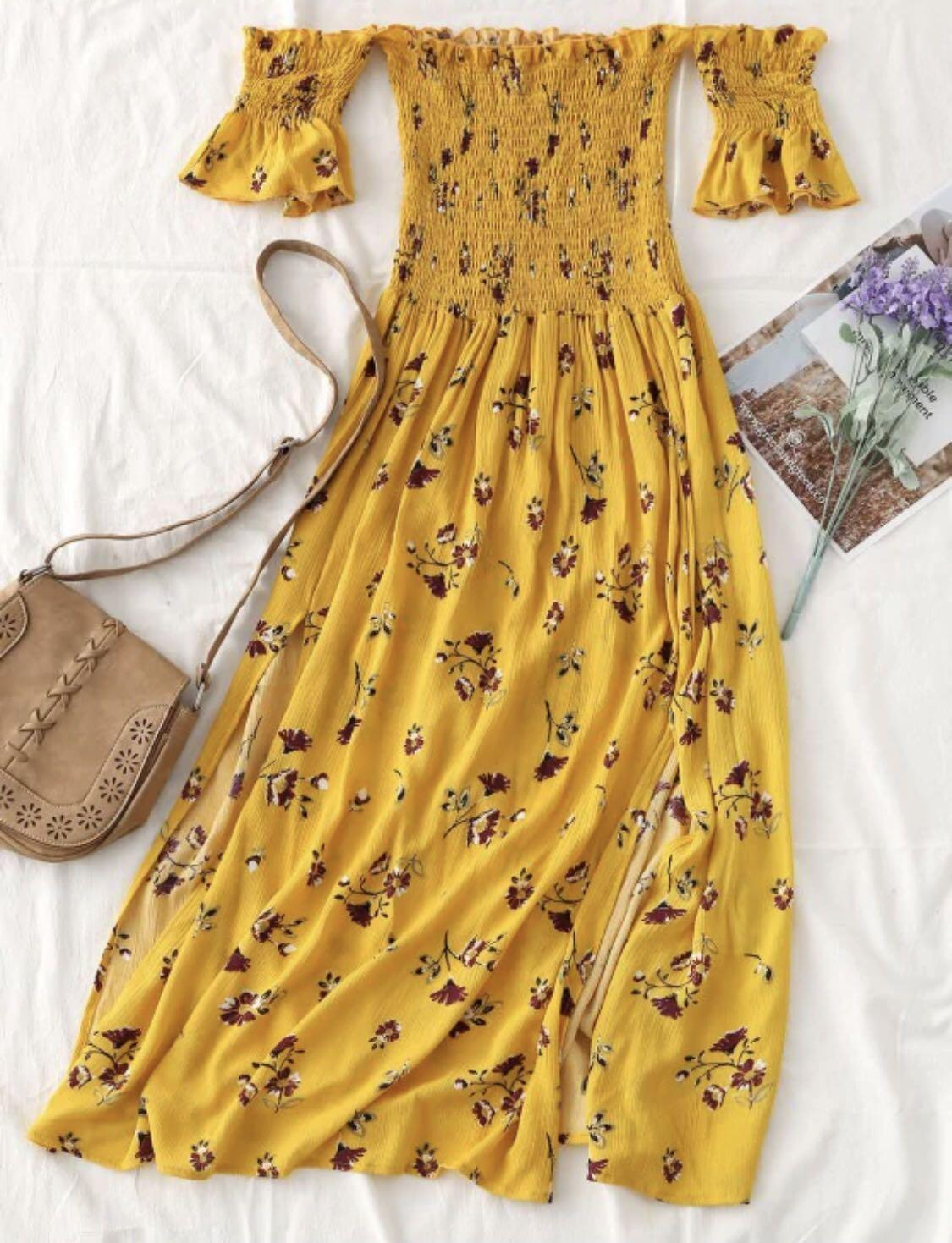 Yellow floral Dress with slits