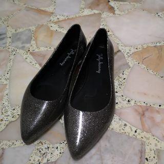 Jelly Bunny black glitter shoes