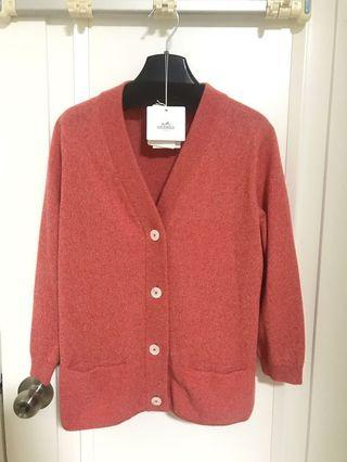 🈹 Hermes Cashmere cardigan rose orange size 38