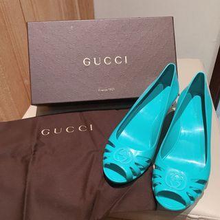 🚚 ❤️正品 GUCCI 藍綠色 高跟 楔形 果凍 橡膠 防水 高跟鞋